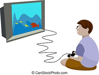 Boy playing video games, illustration, vector on white background.