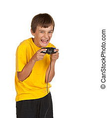 boy playing video games isolated on white
