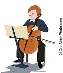 boy playing violoncello