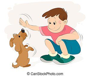 Boy playing with a dog