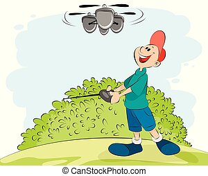 Boy playing with a helicopter