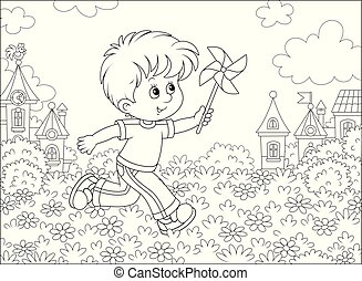 Boy playing with a whirligig