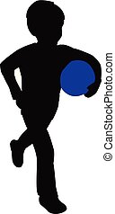 boy playing with ball, silhouette vector