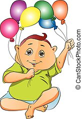 Boy Playing with Balloons, illustration