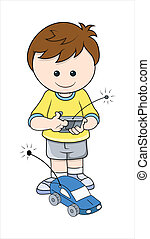 Boy Playing with Car Toy Vector