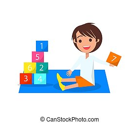 Boy Playing with Color Cubes Isolated Illustration