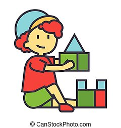 Boy playing with colorful toys bricks concept. Line vector icon. Editable stroke. Flat linear illustration isolated on white background