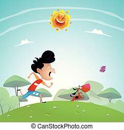 Boy playing with Dog In the Park - Vector