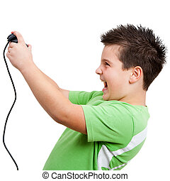 Boy playing with game console
