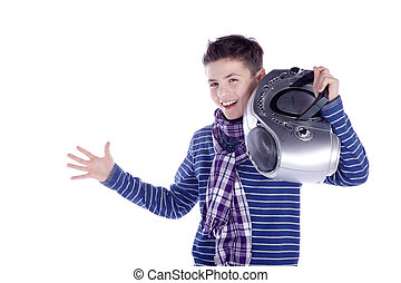 boy playing with ghetto blaster