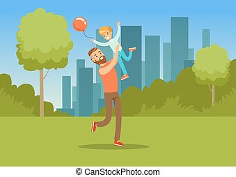 Boy playing with his father in city park outside, dad and son having fun together, family leisure vector illustration