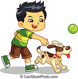 Boy Playing With His Pet Dog