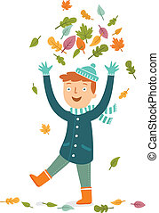 Boy playing with leaves.