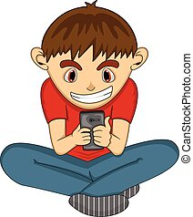 Boy playing with mobile phone