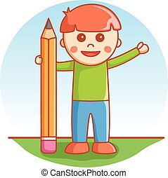 Boy playing with pencil