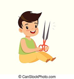 Boy playing with scissors, kid in dangerous situation vector Illustration on a white background