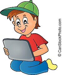 Boy playing with tablet - eps10 vector illustration.