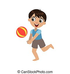 Boy Playing With The Ball