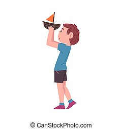 Boy Playing with Toy Boat, Cute Child Daily Routine Activity Cartoon Style Vector Illustration Isolated on White Background
