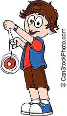 Boy playing yoyo