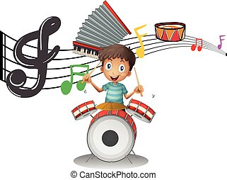 Boy plays drumset with music notes in background illustration