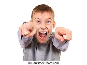 Boy pointing and yelling