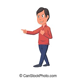 Boy pointing finger, arguing student. Flat vector illustration. Isolated on white background