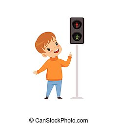 Boy Pointing Finger at Pedestrian Traffic Light, Traffic Education, Rules, Safety of Kids in Traffic Vector Illustration