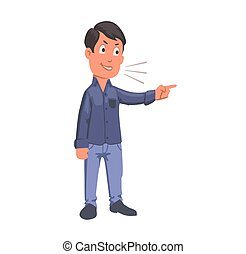 Boy pointing finger, student calling names. Flat vector illustration. Isolated on white background