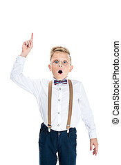 boy pointing up with finger