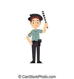 Boy Police Officer Character Managing Road Traffic, Traffic Policeman, Kid Dreaming of Future Profession Vector Illustration