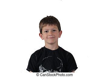 Boy portrait on white background.