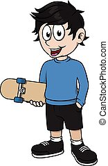 Boy posing with skate board