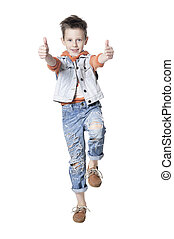 Boy posing with thumbs up isolated on white background