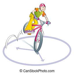 boy practicing bike stunts - boy doing tricks on his bike,...