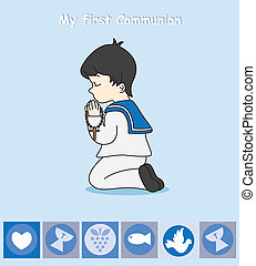 boy praying - First Communion Invitation Card. boy praying