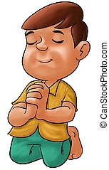 Boy praying - little boy praying his eyes are closed