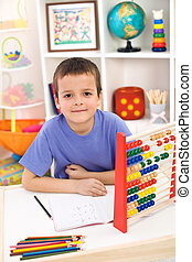 Boy preparing for elementary school