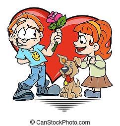 Boy Presenting Flower to a Girl
