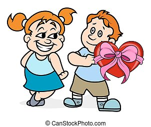 Boy Presenting Heart Gift to Girl