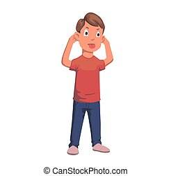 Boy pulling faces and ears, tongue out character. Flat vector illustration. Isolated on white background.