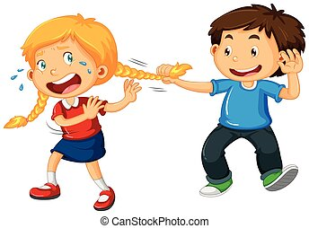 Boy pulling girl hair illustration