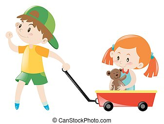 Boy pulling red cart with girl on it