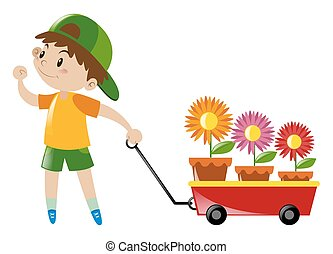 Boy pulling red wagon loaded with flowers