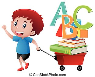 Boy pulling wagon with books and alphabets