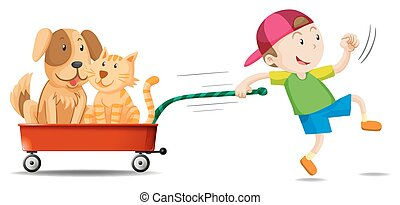 Boy pulling wagon with dog and cat on it