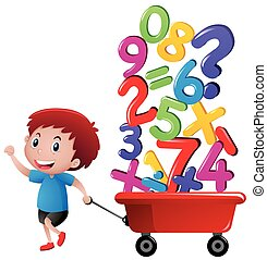 Boy pulling wagon with number blocks