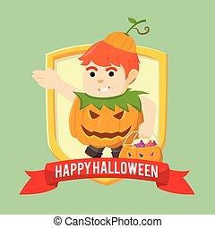 boy pumpkin in emblem colorful