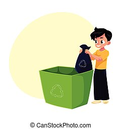 Boy putting garbage bag into trash bin, waste recycling concept
