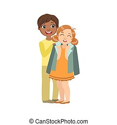 Boy Putting His Coat Around Girl s Shoulders Bright Color...